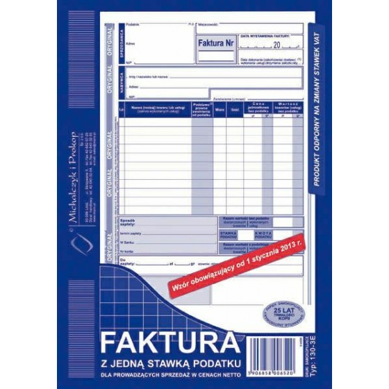 DRUKI FAKTURA VAT A5 PION...