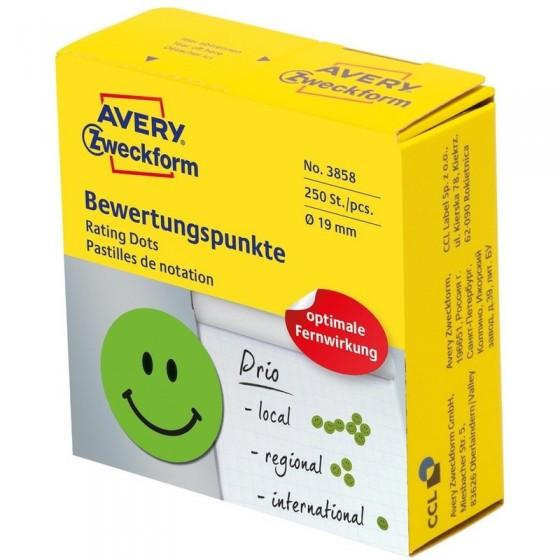Kółka z symbolami do zaznaczania, &039Uśmiechnięta buźka&039, 250 szt./rolka, O19 mm, Avery Zweckform, ZIELONY